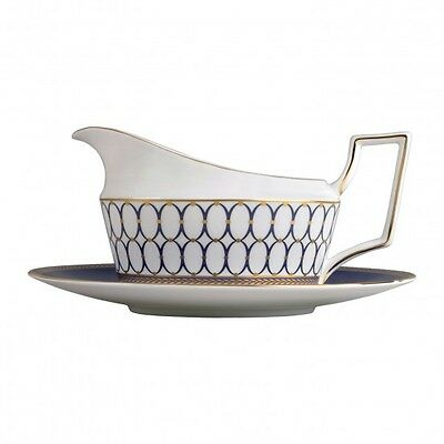 Wedgwood Renaissance Gold Gravy Boat and Stand Tray New with Tag Two Piece