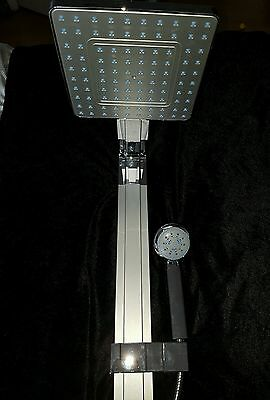 NEW twin fixed large Rainfall Shower head & hand held shower silver chrome