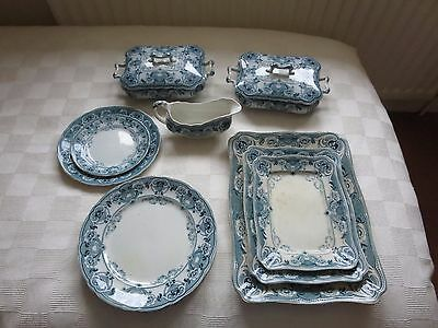 F and Sons Flow Blue Argyle dinner service