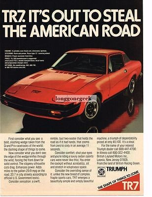 1975 Triumph TR7 Red Out To Steal American Road Vtg Print Ad