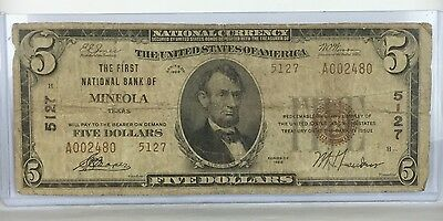 1929 ~ $5 Mineola Texas ~The First NB ~ Ch# 5127 ~ Fr# 1800-2 ~ RARE TX Type 2