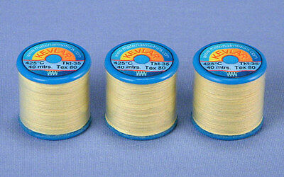 Kevlar Sewing Thread 3 x 40m reels, Tex-80 Ultra Strong, high temperature