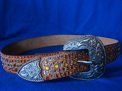 ARIAT ladies western leather belt gold bling silver buckle&tipF105057  30/75 Chi