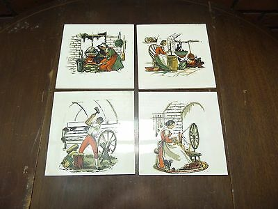 """Set of 4 Old Made in Japan Americana Colonial Ceramic Tile Circa 1950s, 6"""" x 6"""""""