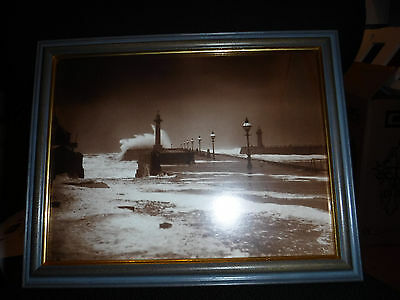 High seas on whitby's west pier by Frank Meadow Sutcliffe Cat. No. 58 Framed