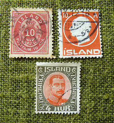 ICELAND -  3 used stamps, SG Nos. 30,  103,  184  as scans