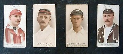 4 x WILLS VINTAGE CIGARETTE CARDS - 'CRICKETERS'