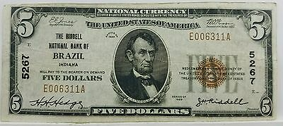 1929 $5 National The Riddell National Bank Of Brazil Indiana Charter 5267 NICE!!