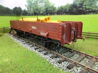 7mm FINESCALE O GAUGE KIT BUILT LOW SIDED WAGON WITH PIPING FREIGHT '181334'