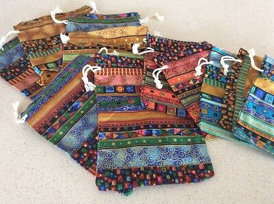 10 Ethnic Design Colorful Jewelry Bags or Drawstring Gift Pouches - Assorted