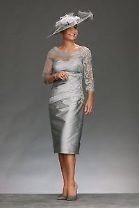 Stunning 'Irresistible' Platinum Silver Dress With Lace, 14, Mother Of The Bride