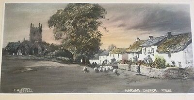 An Antique Print Of Marham Church Near Bude In Cornwall Signed By C. Russell