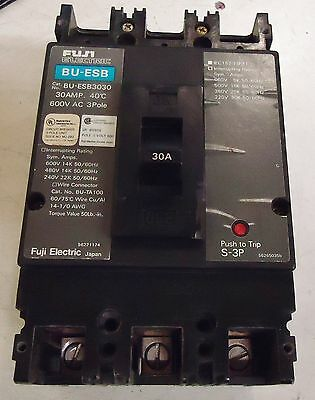 Fuji Electric Bu-Esb3030 30 Amp Circuit Breaker 40 Deg. C. 600V Ac 3 Pole