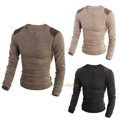 2017 Men's Casual Slim Crew Neck Knitted Cardigan Pullover Jumper Sweater Tops