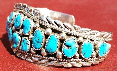 Native American Indian Navajo Bracelet Sterling Silver Turquoise Christmas Gift