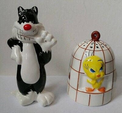 Tweety & Sylvester Salt & Pepper Shakers - Looney Tunes by Giftco Excellent Cond