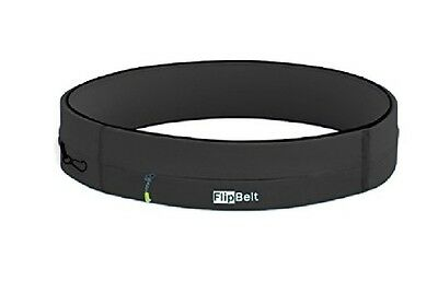 FlipBelt Zipper Running/Workout Belt w/ Pockets for Phone/Keys, Black, New