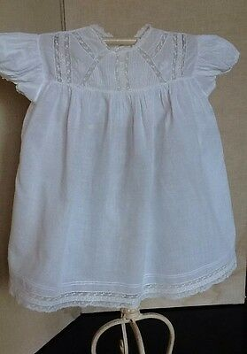 Vintage White Baby Dress In Soft Cotton Voile With Pintuck And Embroidery Detail