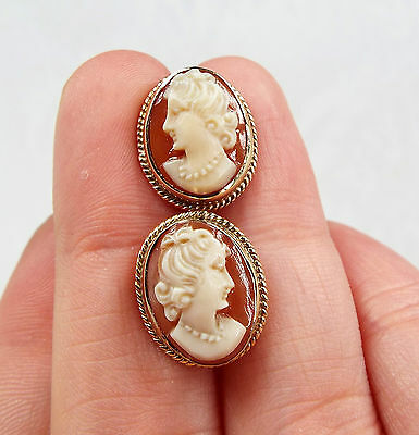 Vintage / Classic 9ct Gold Carved Cameo Ladies Framed Screw Back Earrings