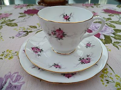 Pretty Duchess English China Trio Tea Cup Saucer Plate Little Pink Roses
