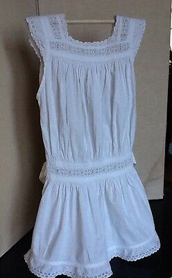 Vintage French Child's Pinafore Dress In White Cotton With Attractive Embroidery