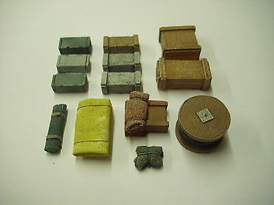 OO Model railway scenery. Boxes, tarpaulins and cable drum. 13piece