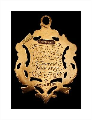 Rare 9ct Gold Football Medal. Won By Charlie Aston of Aston Villa FC 1899-1900.