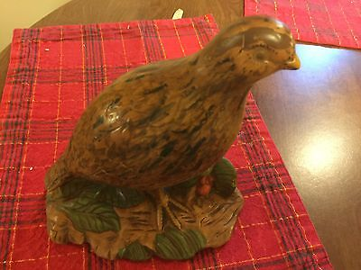"Holland Mold Quail Bird Pottery Ceramic Handpainted Figural St 8.5""x 7"" Lot#0150"