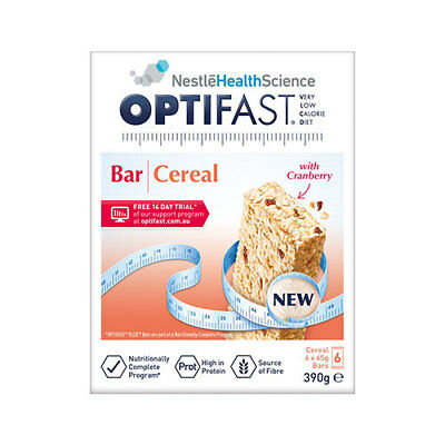 NEW Optifast VLCD Cereal Bars 65g - 6 Pack