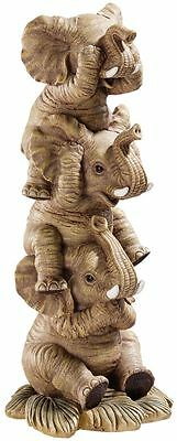 3 Baby Elephants sculpture statue