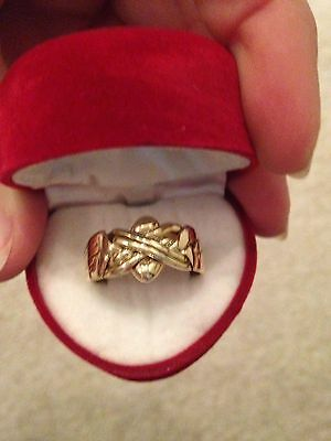 *Heavy Solid Gold* Brand New 9ct Gold Men's 6 Band Puzzle Ring Size 12/W