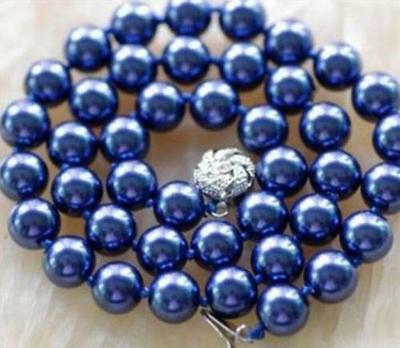 """Beautiful !10mm Navy Blue Sea Shell Pearl Necklace 24"""""""