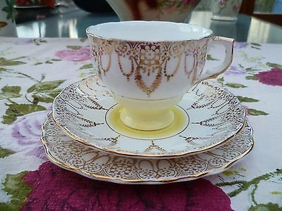 Pretty Vintage English  China Trio Tea cup Saucer Plate Yellow Gilded
