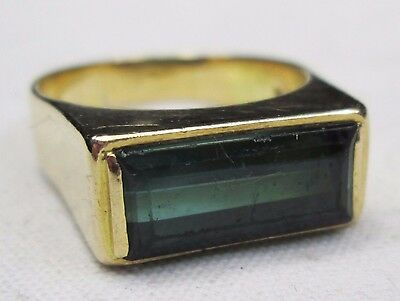 Large Chunky Vintage 18ct Gold Baguette Cut Green Tourmaline Cocktail Dress Ring