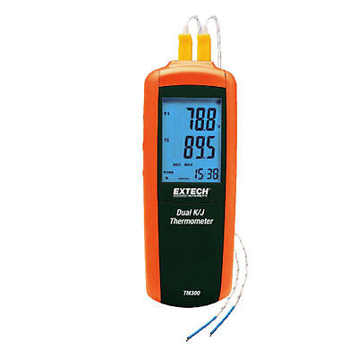 Extech TM300 Type K/J Dual Input Thermometer Compact meter