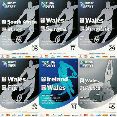 RWC 2011 WALES 6 x Rugby Programmes (Rugby World Cup)