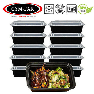 PK10 Meal Prep Food Containers 16oz Microwavable Reusable Stackable Lunch Box