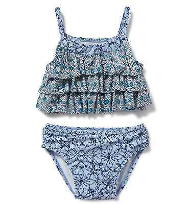 *nwt* Old Navy Little Girls Size 3T Floral Geo Mix Print 2Pc Ruffled Tankini Set