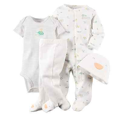 *NEW* CARTER'S BABY BOYS SIZE 3m TURTLE AND DUCKS IVORY STRIPED 4-PC OUTFIT SET