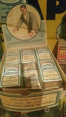 Vintage Unused Tin Colmans Bath Mustard - Paper Label Counter Box