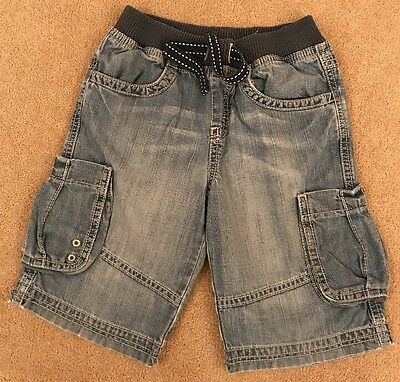 Boys Denim Shorts With Elasticated Waist From M&S Age 5-6 Good Condition