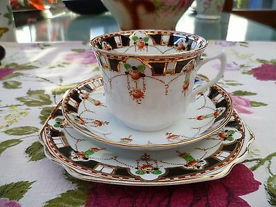 Vintage Royal Vale HJC China Trio Tea Cup Saucer Plate Black Floral 3256