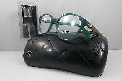 Chanel 3289-Q c.1447 Green/Quilted Brown New Authentic Eyeglasses 49mm w/Case