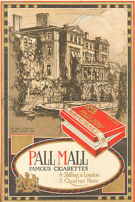 Antique Pall Mall Cigarette SLEEPY HOLLOW CLUB Briarcliff Manor NY Etching Ad