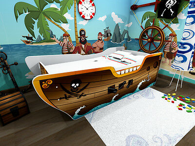 Kids Toddler Bed Frame with mattress PIRATE SHIP      140 x 70 cm