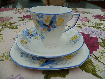 Vintage Sutherland English China Trio Tea Cup Saucer Blue Butterflies 1673