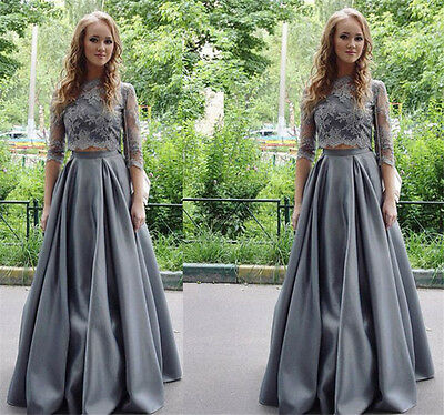 Sexy Two Piece Lace Satin Bridesmaid Prom Dress Formal Evening Party Ball Gown