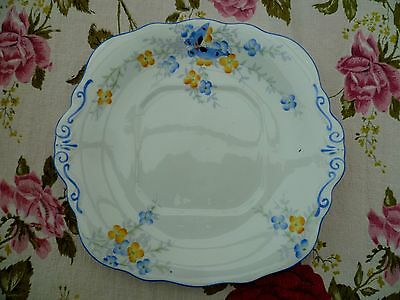 Vintage Sutherland English China Cake or Sandwich Plate Blue Butterflies 1673