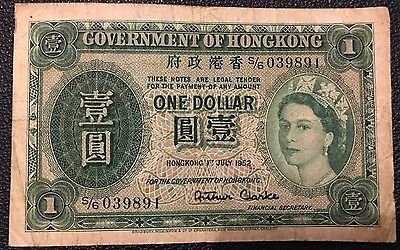 Government of Hong Kong One Dollar Note 1952