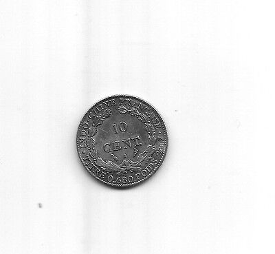 Indochine   Indochina   10 Cent.  1923 A   Silver